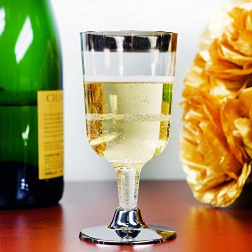 Efavormart 55 Pcs - Silver Rimmed 7oz Disposable Plastic Wine Glass