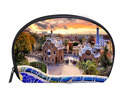 (Portable Toiletry Cosmetic Bag Barcelona at sunset park Guell nobody Ladies Travel Convenience Small Wash Bag Storage Bag)