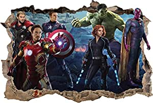 The avengers smashed wall decal removable for Avengers wall mural amazon