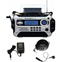 KA600 SILVER Solar/Crank AM/FM/SW NOAA Weather Radio, BONUS AC adapter/charger, Bonus Reel Antenna, 5-LED reading lamp, 3-LED flashlight