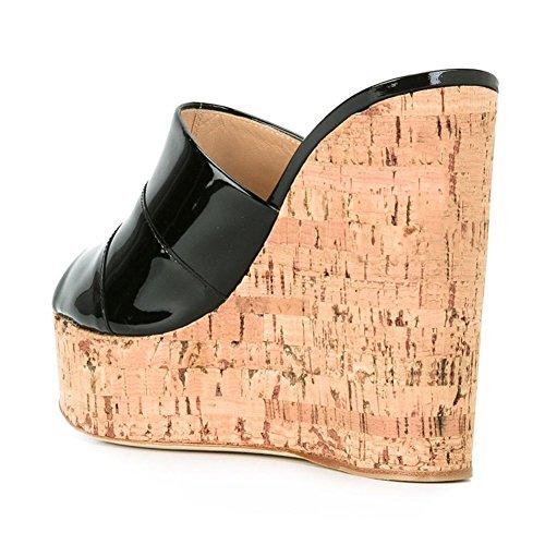 Slides Black 40 High Women's Sandals Wedge Cork Mules Size Peep Q Toe Heel Platform Amy vBWwg6Sz6