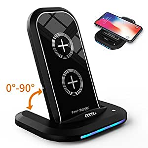 iPhone X Wireless Charger, CUCELL Qi Fast Wireless Charger Charging Pad Stand 10W for Samsung Galaxy S9 S9 Plus Note 8/5 S8 S8 Plus S7 S7/S6 Edge Plus 7.5W for Apple iPhone X 8 8 Plus Qi Enabled Phone
