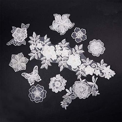 50 Applikation Aufnäher Silber Pailletten elegante Muster Borte Nähen 2,5cm