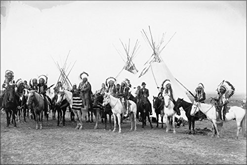 1908 Horse (24x36 Poster; Columbia Plateau Native Americans On Horses 1908 Benjamin Gifford)