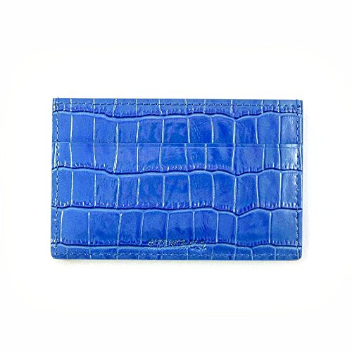 Genuine Leather Slim Minimalist Business Credit Card Holder ID Wallet Embossed Crocodile Card