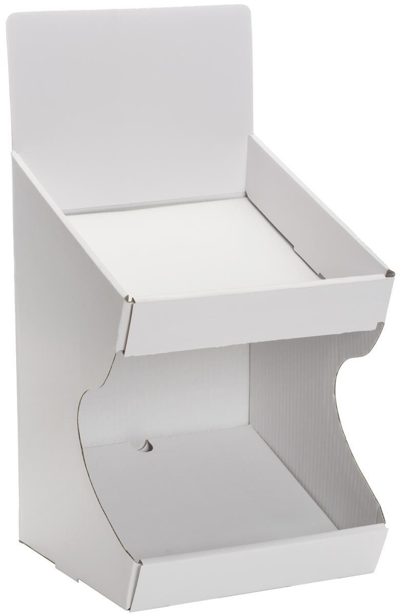 Displays2go TBBIN2WT Store Countertop Display, White Dump Bin, Set of 5, Cardboard