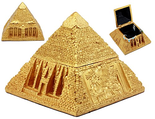 Ebros Golden Ancient Egyptian Gods Carved Pyramid Hinged Jewelry Box Figurine Decorative Trinket Box - Pyramid Box
