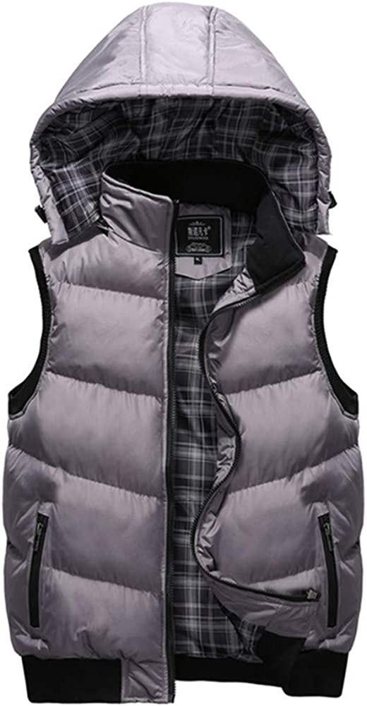 Mens Warmer Hooded Gilets Chickwin Zip Sleeveless Padded Casual Vest Jacket Coat Soft Comfort Lightweight Outdoors Sports Running