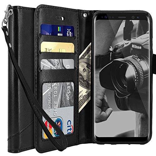 Tocol for Galaxy S8 Case, Premium PU Flip Leather Wallet Protective Case Cover Magnetic Closure With Card Slots for Samsung Galaxy S8 - Black