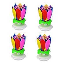 4PCS High Quality Happy Birthday Music Candles Flower Romantic Birthday Gift Blooming Lotus Flower Candle Lights Birthday Party Decorations,Multicolor