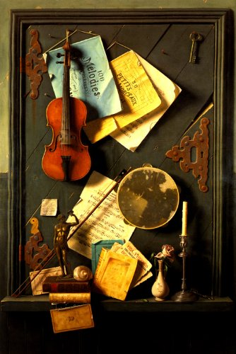 THE OLD CUPBOARD DOOR 1889 VIOLIN SCORE BOOKS STILL LIFE PAINTING BY WILLIAM HARNETT LARGE REPRO ON CANVAS (Still William Harnett Life)