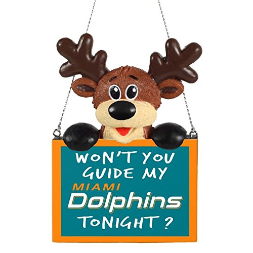 NFL Reindeer With Sign Miami Dolphins