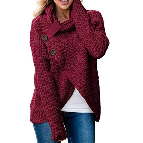 e4c9517befb HaoKe Winter Women Knit Sweater Buttons Loose Cardigan Coat Warm High  Collar Irregular Sweater (L