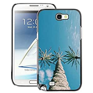A-type Arte & diseño plástico duro Fundas Cover Cubre Hard Case Cover para Samsung Note 2 N7100 (Trees Three Sky Blue Clear)