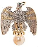 Eagle Imitation Pearl Brooch Pin 1.7'' with Exquisite Detail and Crystal Accents