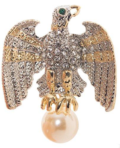 Eagle Imitation Pearl Brooch Pin 1.7