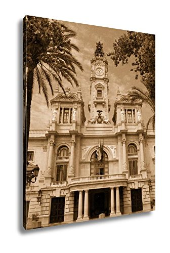 Ashley Canvas City Hall Building In Valencia Spain, Kitchen Bedroom Living Room Art, Sepia 30x24, AG5528728 by Ashley Canvas