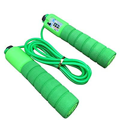 Simayixx Adjustable Soft Skipping Rope with Skin-Friendly Foam Handles for Kids and Adults Exercise Training Jump Rope (Green, Free): Clothing