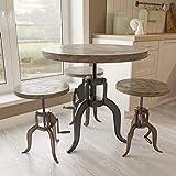 Yosemite Home Decor YFUR-SBA1324200 Industrial Adjustable Bistro Table, Cement Coating Finish