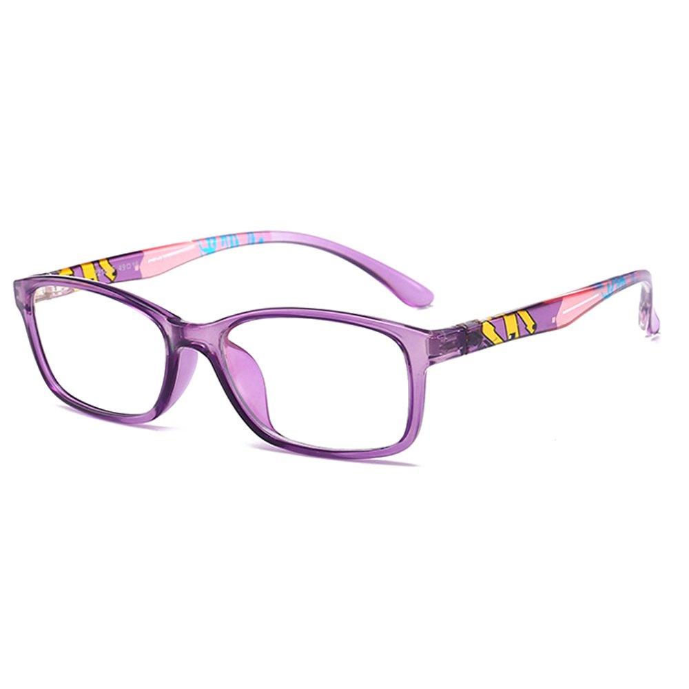 Fantia Unisex Child Non-Prescription Glasses Frame Clear Lens Kids Eyeglasses (Purple)