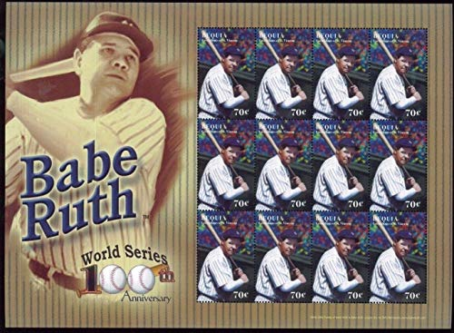 (Baseball Hall of Fame Legends - Babe Ruth - Rare Collectors Stamps - Bequia)
