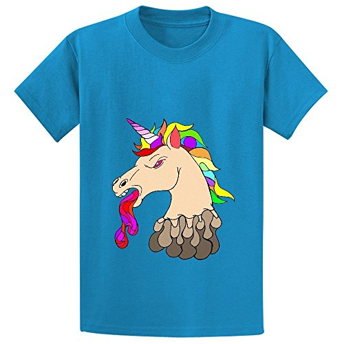 Snowl Plastic Unicorn Youth Crew Neck Print Shirts Blue