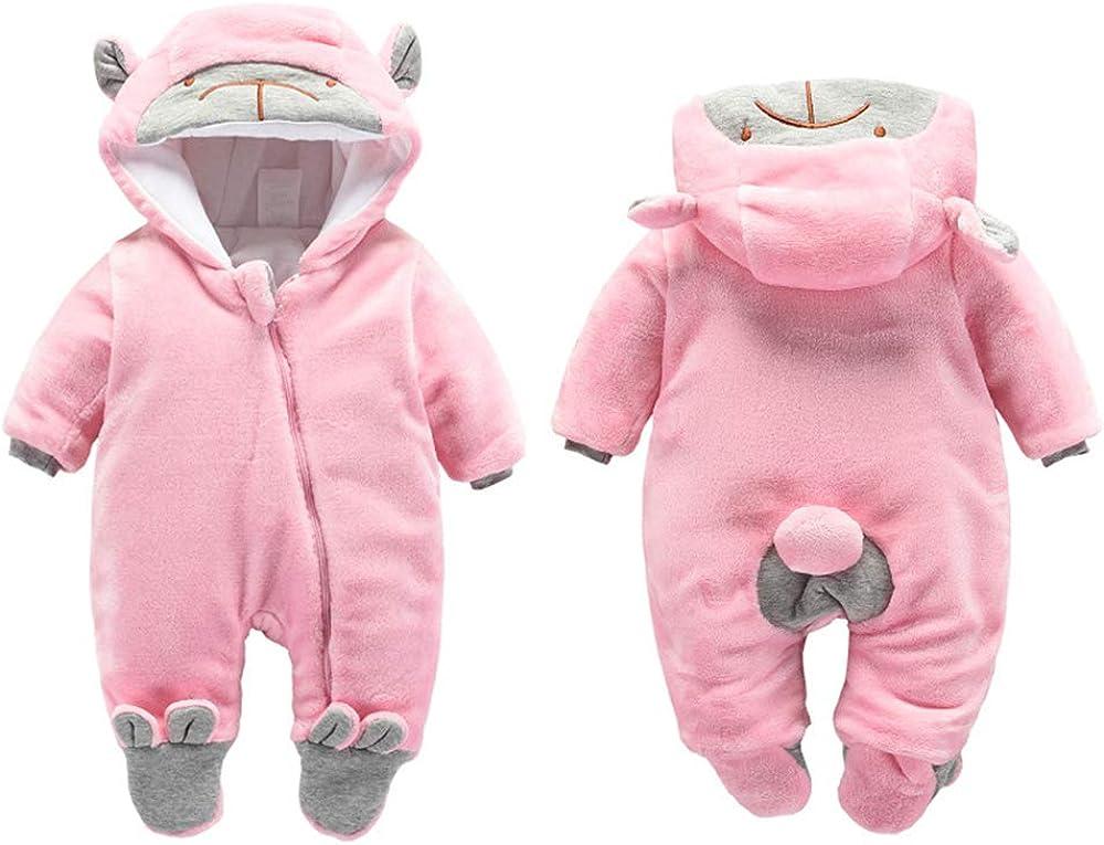 JEALLY Newborn Baby Cartoon Bear Footie Snowsuit Warm Fleece Hoodies Jumpsuit Thicken Romper