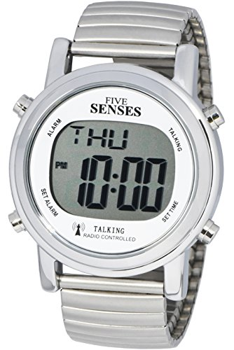 TimeChant ATOMIC! Talking Watch - Sets Itself SENSES Metal Easy-To-Read Talking Watch (1021) (Best Low Cost Watches)