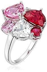 Sterling Silver Tonal Pink Gemstone Cluster Ring