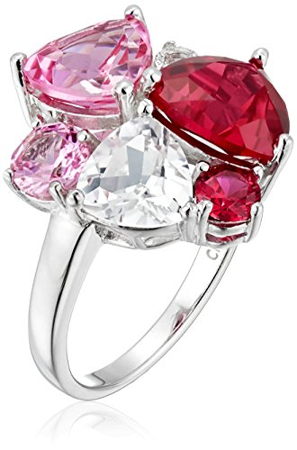Sterling Silver Tonal Pink Gemstone Cluster Ring, Size 6