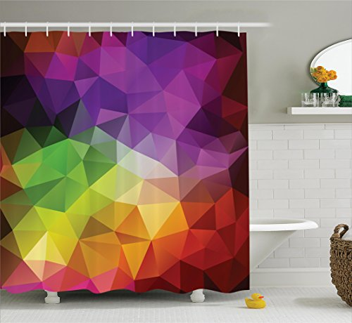 Abstract Home Decor Shower Curtain Set By Ambesonne, Colorful Abstract Geometric Shapes With Triangular Polygons Creative Artistic, Bathroom Accessories, 69W X 70L - Artistic Abstract