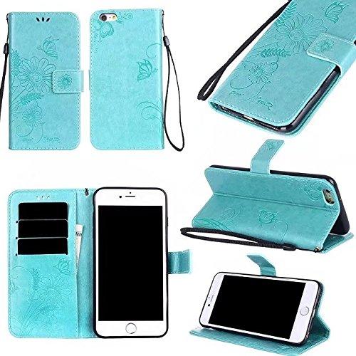 SRY-Caso sencillo Color sólido en relieve patrón de flores cubierta protectora de la cartera de la bolsa con ranura y ranuras de tarjeta para el iPhone 6 Plus y 6s Plus Protección reforzada ( Color :  Green