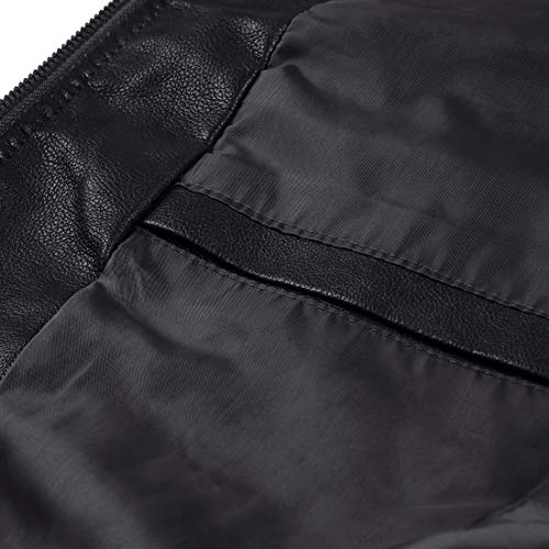 b0159f0c687 MAGE MALE Mens Leather Jacket Slim Fit Stand Collar PU Motorcycle Jacket  Lightweight