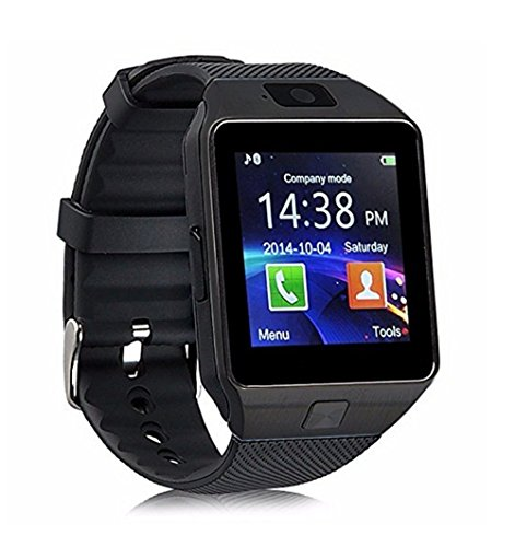 Fu&y Bill DZ09 Bluetooth Smart Watch with Camera WristWatch SIM/TF Card Smartwatch for Android ios Phones Wearable Devices (Black)