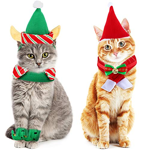 Gj Pet Santa and Elf Costume Set Christmas Cat Scarf Xmas Cat Collar Pet Santa Hats for Dogs and Cat Small Pets from Gj