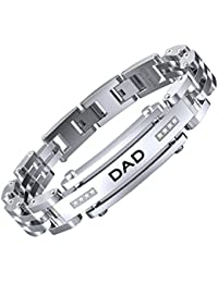 DAD Bracelets Adjustable Bracelets 8.5-9 Inch Stainless Steel Bracelet Dad Engraved