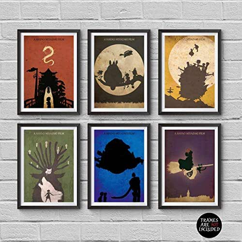 Amazon Com Hayao Miyazaki Minimalist Poster Set 6 My