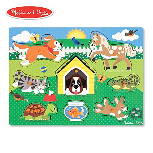Melissa & Doug Pets Peg Puzzle (Colorful Animal Artwork, Extra-Thick Wooden Construction, 8 Pieces)