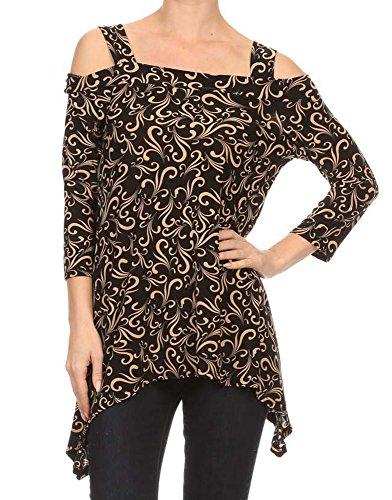 Avital Womens Cold Shoulder Asymmetrical Trapeze Shirt (Brown White Swirl, Small)