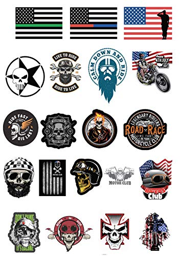 20 PCS 2019 Sticker For Motorcycle Biker Helmet, Hard hat,Tool Box, Car 100% Vinyl PVC Waterproof, Construction, Union, Oilfield, Electrician, Iron-worker, American Flag, Great Gift for Anyone!