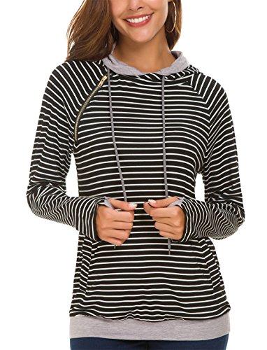 - KorMei Womens Hoodies Sweatshirts Long Sleeve Funnel Neck Pullover Hooded Tops with Pockets M Stripe