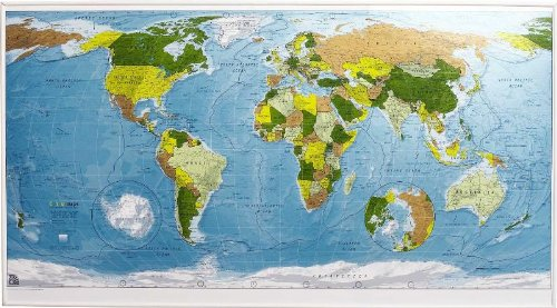 Colourmap: World Wall Map - Magnetic Tubed Version 1: Political with Physical Shading pdf