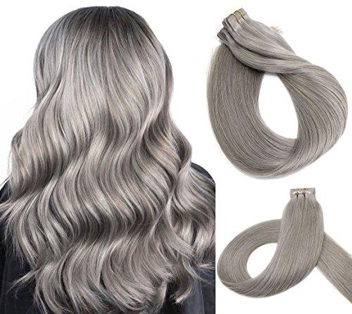 Vario Hair Tape In Real Human Hair Extensions 7A Silk Straight Skin Weft Extensions 100% Human Hair extensions (16Inch 30g/20pcs #Silver Gray) ()