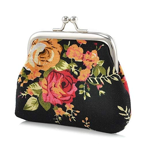 Aland Vintage Flower Canvas Women Hasp Clutch Buckle  Coin Purse  Cash Card Holder Bag Jewelry Double-Sided Glass Ball time Jewel Necklace Moon Series Pendant Black