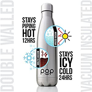 Water Bottle by POP Design | Keeps Cold 24hrs. or Hot for 12hrs. | Stainless Steel Vacuum Insulated | Sweat & Leak-Proof | Narrow Mouth & BPA Free | 25 Oz (740ml) | Titanium