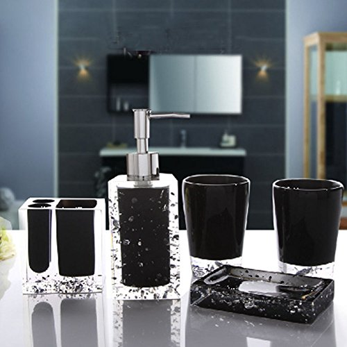 Modern Decorative Durable Resin 5-Piece Bathroom Accessory Set Included Soap Dispenser, Toothbrush Holder, Tumbler, Soap Dish (Small, Black) from Popular Bathroom Accessory Set