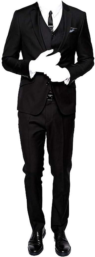HBDesign Mens 3 Piece 2 Button Slim Fit Business Fashion Suits Black