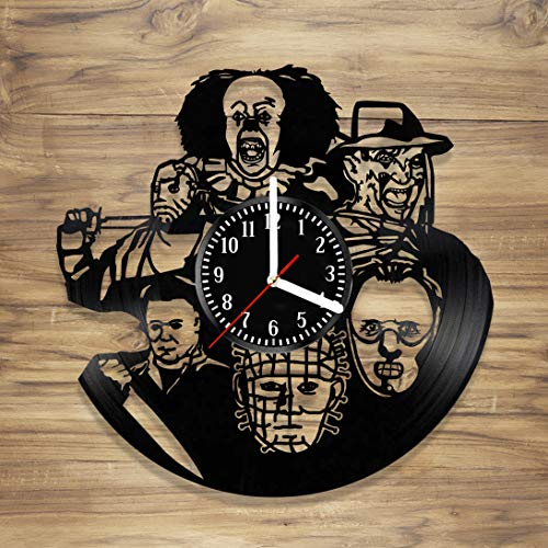 Halloween Vinyl Wall Clock Best Horror Freddy Krueger It Pennywise Jason Voorhees Michael Myers Decorate Home idea for Him Her (12 -