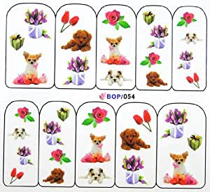 Egoodforyou BLE Water Slide Water Transfer Nail Tattoo Nail Decal Sticker Oil Portray (Puppy, Gifts and Tulips) with one packaged nail art flower sticker bonus