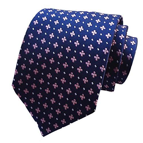 (Secdtie Men Blue Pink Neckties Vintage Floral Silk Cravat Woven Leisure Ties H08)